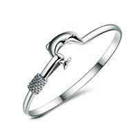 الفضة تصفيح المرأة الإسورة مجوهرات دولفين شكل أساور الأزياء النسائية نوبل شبكة أساور الحلي عيد الحب 2 4MS J2B