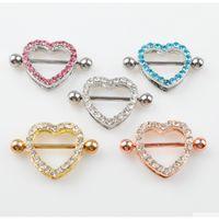 D0985 (5 couleurs) Belle pierre de style cardiaque piercing bijoux 20 pcs couleur rose pierre pierre piercing corps bijoux expédition 7rttk
