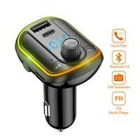 Bluetooth Car Kit Freisprecheinrichtung FM-Sender AUX Audio-Stereo-Auto MP3-Player mit PD18W Kurzes USB-Ladegerät