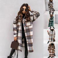 Frauenjacken Plaid Midi Lange Mantel Mode Frauen Herbst Winterhülse Lose Tasche Damen Casual Jacke Elegante Outwear 2021