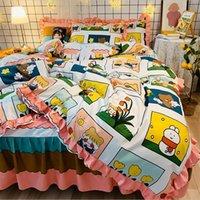 الكورية نمط الفراش مجموعات 4 قطع مطبوعة الكرتون سرير البدلة اللوازم غطاء لحاف القطن سرير تنورة مصمم الفراش في سوق الأسهم