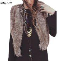 Ropa de abrigo abrigos Mujeres Moda de Invierno Señora Faux Fur del chaleco sin mangas color sólido suave capa de la chaqueta de abrigo de pelo largo Chaleco