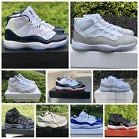 Новая 11 11s Jumpman баскетбольная обувь низкие белая разводила Concord SE металлического золота легенды синего Pantone ово серых змеи кож мужских кроссовок женщин