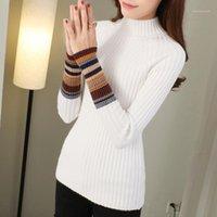 Женские свитеры Jointhouth наполовину водолазки теплые пуловеры 2021 осень зима одежда женщин полосатый корейский тянуть Femme Slim J2231