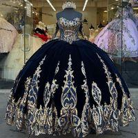 Robe de boule de velours bleu marine Quinceanera robes avec paillettes applique à manches longues à lacets de lacets de lacets Mexicano Sweet 15 robe de bal