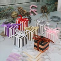 10 50 100pcs Striped Candy Box DIY Chocolate Favor And Gift Boxes With Ribbon For Kids Birthday Baptism Party Wedding Decoration