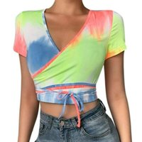 Vicabo T-shirt Women Summer Casual Female Short Sleeve Cross V Neck Bandage T Shirt Woman Tie Dye Crop Top