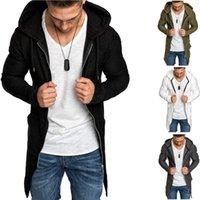 Männer mit Kapuze Trenchcoat Herbst-Winter-neue Art und Weise dünne halblangen Schwalbenschwanz Strickjacke Reißverschluss Windjacke männlich Mantel Jackenmantel