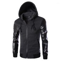 Corriendo chaquetas primavera otoño chaqueta deportiva hombres con capucha y abrigo PU manga de cuero delgado ropa exterior cremallera ropa deportiva1