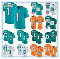 Miami personnalisédauphinsFootball Jersey1Tua Tagovailoa 11Devante Parker 13 Dan Marino 10 Malcolm Perry N'importe quel numéro Jerseys