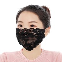 Maschera per strato viso Máscara Single Ladies del ricamo del merletto maglia nera regolabile sottile Bandage traspirante Mask