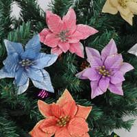 Рождество Цветы 13см Пномпеня Моделирование цветов Новогодние украшения Powder елочных Garland аксессуары Подвеска XD