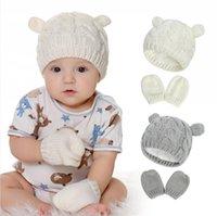 Baby Gestriebene Hut Handschuhe Set Outdoor Winter Warme Beanie Feste Warme Nette Ohrform Stricken Soild Farbkappe Handschuhe für 0-3 Jahre Kind Ljjp736