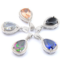 Presente Mix 5PCS do arco-íris New Luckyshine 925 prata Lady Partido Dazzling Black Drop Onyx Morganite Topaz Colares Para