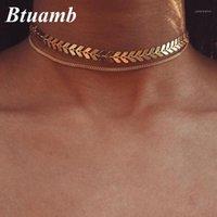 Chokers BTUAMB Verkauf von Fisch Knochen arrow Halsketten Gold Silber Farbe Doppelkette Anhänger Für Frauen Partyzubehör Colar1