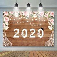 Sfondo Materiale Classe di 2021 Pografia di graduazione Backdrop Congratulazioni Legno floreale floreale celebrazione del partito del partito della promozione Banner1