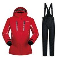Traje de esquí Mujeres Invierno 2021 Nuevos sets A prueba de viento Transpirable Impermeable Mujeres Snow Chaqueta de nieve Y Pantalones Ropa de Caliente Set Snowboard Suits1