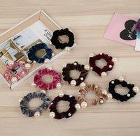 Nouvelle Arrivée Velvet Pearl Elastic Cheveux Ropes Scrunchies Filles 'No Crease Cheveux Lattes Femmes Hair Accessoires En gros