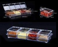 1 قطعة أربعة الشبكة مربع التوابل مع ملعقة جودة عالية مربع التوابل شفافة أربعة في واحد توابل جرة مجموعة لوازم المطبخ h jlldfz