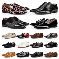 2020 New mens loafers shoes red bottoms black white brown Bred suede Patent Leather Rivets glitter fashion Dress Wedding Business size 39-47