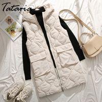 Tataria Frauen Winter Warme Parkas Weste Weibliche ärmellose Jacke Winter Mit Kapuze Baumwolle Weste Frauen Slim Winddicht Warme Weste 201110