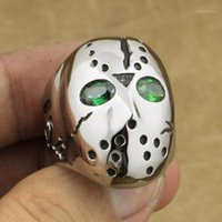 316L Edelstahl Halloween Jason Maske Hockey Grüne CZ Eyes Herren Ring 3F201A1