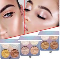 4 ألوان ماكياج الوجه تمييز برونزي لوحة مستحضرات التجميل إصلاح فرشاة الوهج وميض منير كفاف خبز كعكة مسحوق