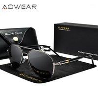 النظارات الشمسية aowear العلامة التجارية نمط الطيران الرجال الاستقطاب النظارات الرجعية رجل سائق سيارة الكلاسيكية مع حالة الذكور 1