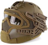PJ Tipo Casco rápido Airsoft Paintball Protector Cara Completa Casco Multicam ABS Táctico CS Máscara con gafas