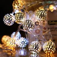 Gli ultimi modelli Solar 2 12 metri 100 luci, LED Hollow Marocchan Ball Light String String Iron Art Lantern Christmas Bar Decorazione regalo