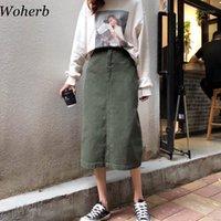 WOHERB Uzun Etek Kadın Rahat Yüksek Bel Denim Etekler Kore Vintage Jupe Longue 2020 Yeni Stil Yeşil Etek 209111