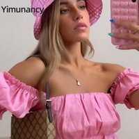Женская футболка Yimunancy Off Flog Top Женщины с коротким рукавом Урожай 2021 Дамы Ruched Sexy