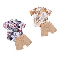 FocusNorm 1-6Y estate bambino bambino bambini ragazzi vestiti set foglie stampa manica corta single shirt camicie pantaloncini