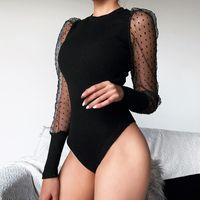메쉬 섹시한 긴 소매 바디 수트 여성 가을 바디는 여성 O 목 슬림 폴카 도트 블랙 화이트 2020 바디 수트 탑스