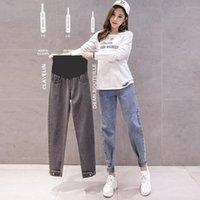Fondos de maternidad Primavera Faint Fashion Embarazo Mujeres Pantalones Denim Jeans sueltos Altos Cintura Ajustable Pantalones de vientre Ropa para embarazada
