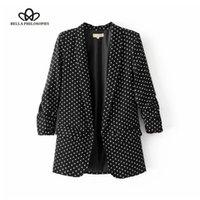 Bella Philosophie 2020 Femmes Casual Nouveau Noir Plié à Manches Bureau Dames Blazer Jacket Business Jacket Polka Dot Imprimer Jacket LJ201214