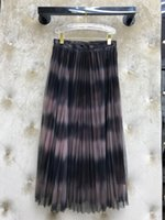 Summer 2020 new fashion blogger gradient color stripes sexy perspective Lace Mesh pleated skirt