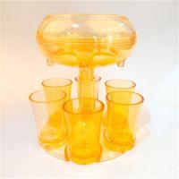 6 dispensador de copo de tiro com 6 copos de acrílico titular de suporte de suporte de suporte acrílico acrílico coquetel transparente ficar juntos Dispense 35 K2