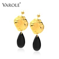 VAROLE Black A-g-a-t-e Drop Earrings For Women Statement Gold Color Dangle Earings Fashion Jewelry Brinco Oorbellen