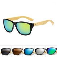 원래 목조 대나무 선글라스 남자 여자 미러 된 UV400 태양 안경 진짜 나무 그늘 골드 블루 야외 고글 sunglases male1