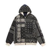 20FW أزياء الخريف الشتاء اليابان باندانا غير النظامية طباعة المرقعة سستة هوديي سكيت سترات للجنسين مقنعين البلوز معطف