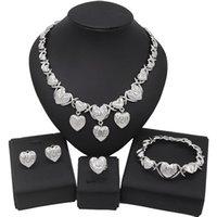 Yulaili Color Silver Color Heart Shape Charm I Love You Colgante Collar Stud Pendientes Pulsera Anillo Para Mujeres Joyería Conjuntos Regalos