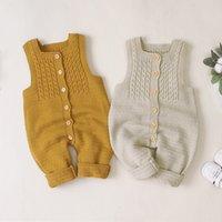 Bébé vêtements coton sans manches baby filles baptises bébé à volants nouveau-nés tricoté de laine romper combinaisons pyjamas combinaisons