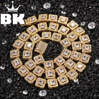 Ketten The Bling King 10mm Square Rock Cubic Zirkonia Tennis Schöne Top Qualität Hiphop Halskette Luxus Full Euro out cz Schmuck