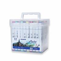 Marcadores de alcohol de Chenyu para 36/48/60 / 80 colores Caja de plástico Dibujo Lápiz Pincel Pintura Sketch Marker Set Dual Tip Art For for School 201125
