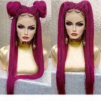 2019 Novas perucas trançadas vermelhas cor-de-rosa com cabelo do bebê Caixa longa tranças perucas perucas sintéticas dianteiras de renda sintética para mulheres negras resistente ao calor
