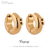 YHPUP CARTA DE MODA PEQUEÑO B PENDIENTES DE ARO CHUNKY PARA MUJERES METAL SIMPLE 14 K Pendientes de moda Boucle D'Oreille Femme