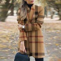 여성을위한 가을 의류 패션 격자 무늬 인쇄 긴 재킷 얇은 코트 오버 코트 겨울 outwear 코트 여성