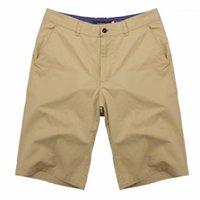Shorts Hommes 2021 Été Casual Hommes Coton genou Longueur Longueur Smart Chino Vintage Haute Qualité Vêtements Grand Grand Taille 441