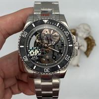 DP 2020 Nuevo modelo Mejor calidad Esqueleto Dial Asia Movimiento Mecánico Mensos Relojes de pulsera de 44 mm Mecánico Transparente Relojes para hombre